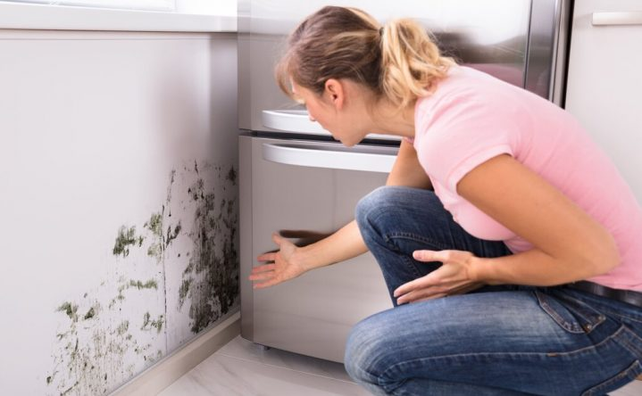 Woman finding mold behind the refrigerator