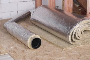 air duct insulation and mineral wool in crawl space for protection against water damage
