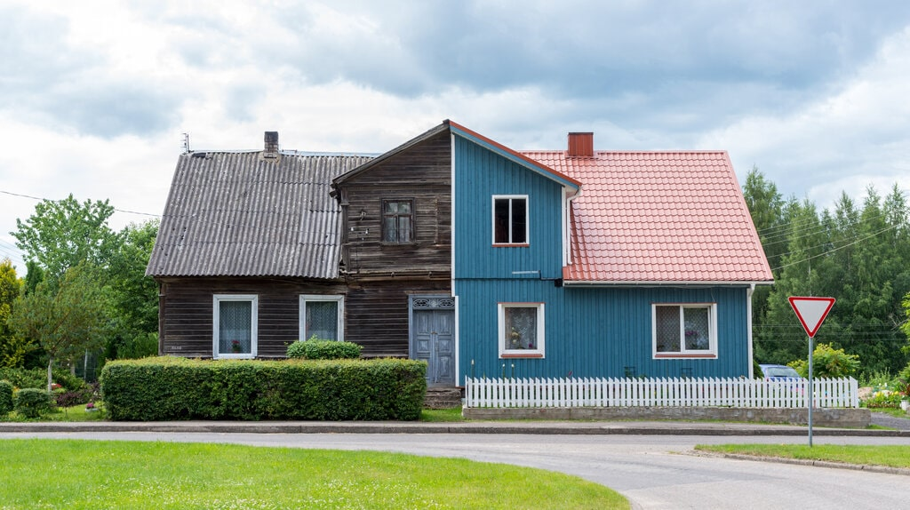 split image showing an old house that has been remodeled
